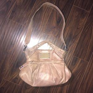 MBMJ Beige Pleated Leather Satchel Crossody Bag